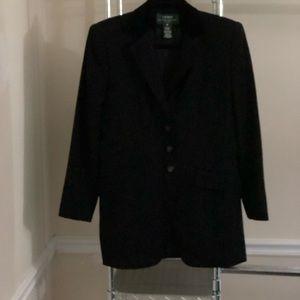 Lauren Ralph Lauren Black Blazer W/Velvet Collar 8